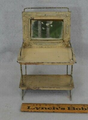 wash stand commode pressed tin toy doll house 7 in. tall Victorian antique 1880