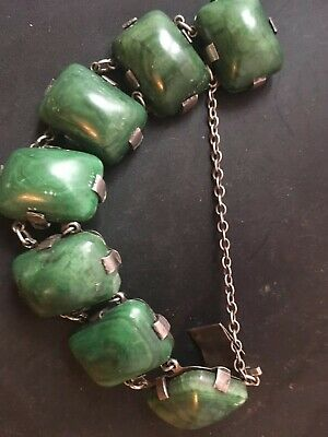 "Antique Mexican Sterling Silver And Green Onyx Bracelet-7"", Signed"