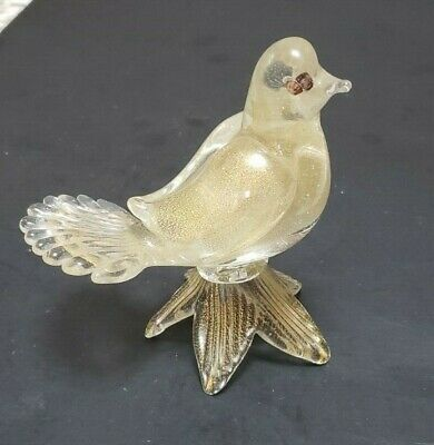 Vintage Barbini Murano Dove Bird Figurine Fanned Tail 24Kt Gold Dust