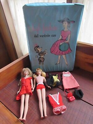 Lot of 1960's Mattel Skipper and Skooter dolls, case and clothes