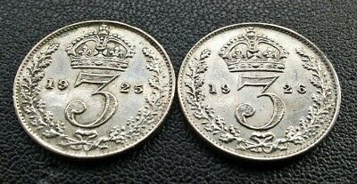2 x GEORGE V SILVER THREEPENCE COINS-1925 & 1926