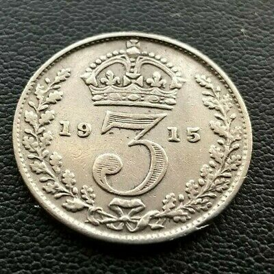 1915 George V Silver Threepence Coin