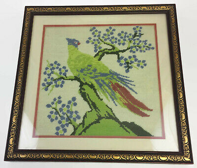 "Needlepoint Green Bird Blue Red Feathers 19"" X 18"" Large Framed Art Vintage"