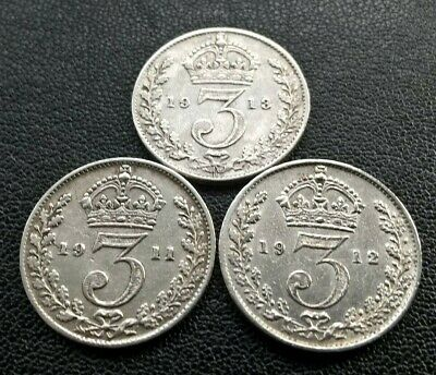 3 x GEORGE V SILVER THREEPENCE COINS-1911, 1912 & 1913