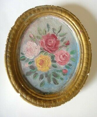 1900s antique EARLY MINI STILL LIFE TOLE HAND PAINTED ROSES ceramic piece CHIC
