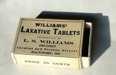 1910 antique WILLIAMS' LAXATIVE TABLET BOX baltimore md QUACK MEDICINE,PHARMACY