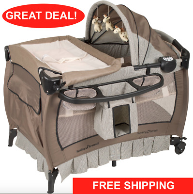 685f6428a Crib and Changer Pack n Play with Sound Portable Baby Infant Bassinet  Playpen