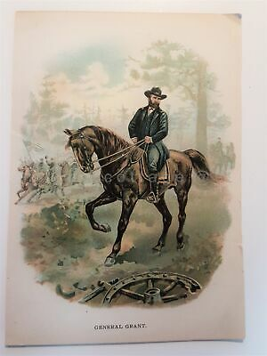 1880s antique ORIGINAL lithograph print GENERAL GRANT gar civil war ulysses