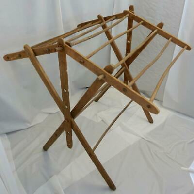 Antique Large Primitive Folding Drying Rack for Clothes Blankets Quilts