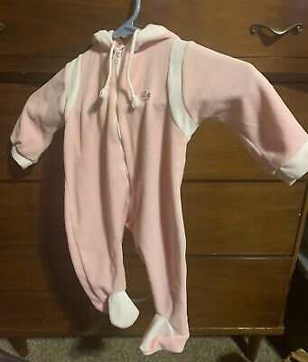 IZOD Lacoste Vintage Baby Sleeper Pink Velvet Alligator Zip Up Doll Clothes 3mos