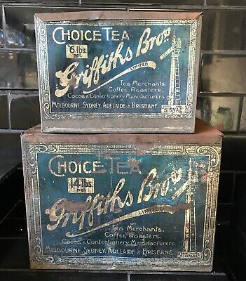 SET OF 2 X GRIFFITHS BROS. 6 & 14 Lbs Classic Vintage Australian Tea Tins