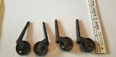 4 Antique Cast Iron Furniture Casters Wheels Rollers