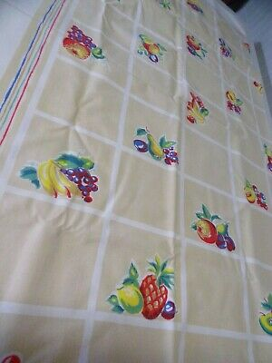 Vtg 50s Tablecloth Fruits Tan Block Background 48 x 50 No Holes 1 Small Stain