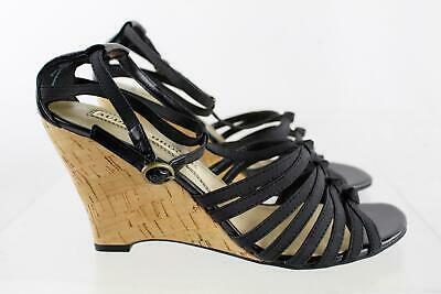 a4516aaad8 Audrey Brooke Amber Black Strappy Cork Wedge Heel T-Strap Sandals Size 8M