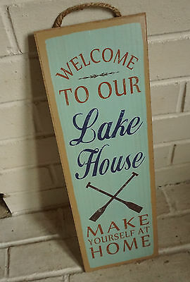 WELCOME TO OUR LAKE HOUSE SIGN Cabin Lodge Canoe Boating Oars Log Home Decor NEW