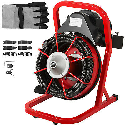 """Drain Cleaning Machine 370W Drain Cleaner 75'x1/2"""" Solid Core Cable Foot Switch"""