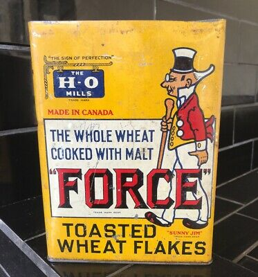 FORCE TOASTED WHEAT FLAKES Amazing 1900's Cereal Tin Kitchenalia 'Sunny Jim'