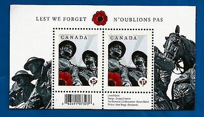 CANADA Canadian WW1 Lest we Forget postage Poppy stamp souvenir sheet MNH