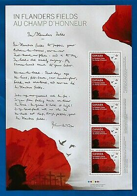 CANADA Canadian WW1 In Flanders Fields postage Poppy stamp souvenir sheet MNH