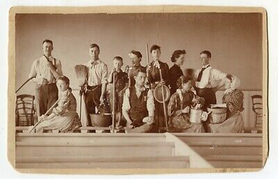 Large c1891 Cab Card of Young Men & Ladies in a Play w Brooms, Buckets, & Pails