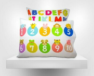 Toddler Pillowcases 2-Pack for Kids Fits 13x18 - Numbers and Letters
