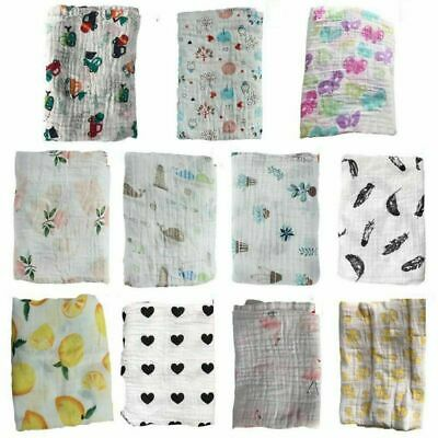 Baby Kids Cotton Muslin Swaddle Soft Sleeping Blanket Wrap Bath Towel 120*120cm