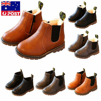 kids Shoes Leather Ankle Martin Boots Snow Warm Boys Girls Winter Children AS