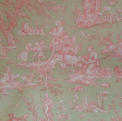 Olive And Pink French Toile De Jouy Fat Quarters 55cm X 55cm
