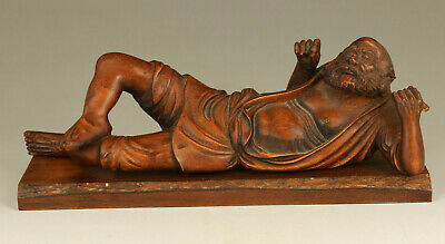 Rare old boxwood hand carving arhat Buddha statue figue home decoration+pedestal