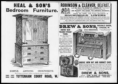 1899 Antique Print - ADVERTISING Heal Sons  Drew Sons Robison Cleaver   (119)
