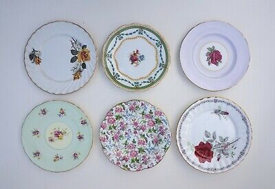 6 Mis Matched Bone China Cake Side Plate Old Foley Paragon Grosvenor Rosina