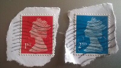 2 x USED GB 1ST CLASS RED & 2nd BLUE 2015 SECURITY MACHIN STAMPS - M15L MBIL