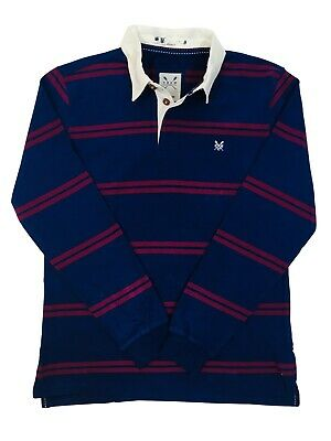 Ex Crew Mens Long Sleeve Striped Cotton Rugby Shirt Navy Blue Burgundy Size XS