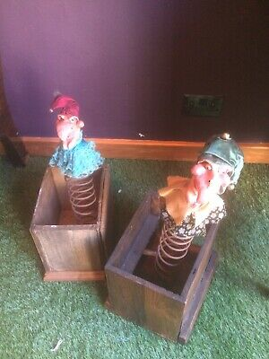 Rare Unusual Antique Victorian Wood Wooden Jack in the Box Clowns Unique & Scar