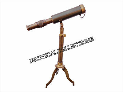 Antique Nautical Tripod Full Brass Telescope With Decorative Vintage Telescope