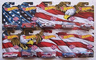 2016 Hot Wheels Stars & Stripes Complete Set of 10 Factory Box Never Opened