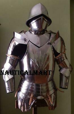 Medieval Half Suit of Breastplate Armour With Helmet Wearable Halloween Costume