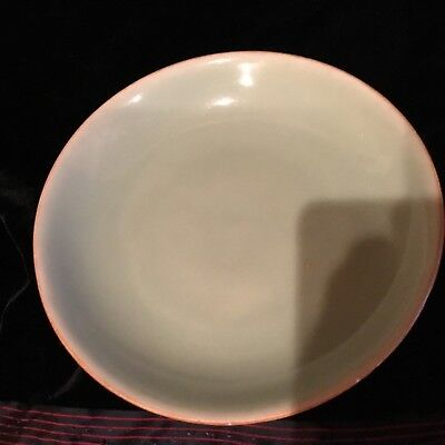 "Antique Chinese porcelain Qing 18th-19c celadon glazed dish 7.5"" seal mark SUPER"