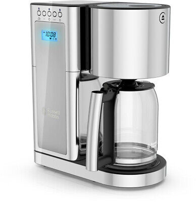 RUSSELL HOBBS 8-Cup Coffee Maker Programmable w/ Permanent Filter, Silver/Steel