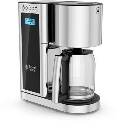 RUSSELL HOBBS 8-Cup Coffee Maker Programmable w/ Permanent Filter, Black/Steel