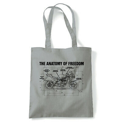 The Anatomy Of Freedom Biker Tote - Reusable Shopping Canvas Bag Gift