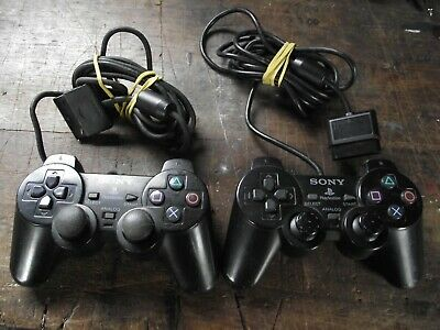 Two Sony Dual Shock 2 Official Wired Original Playstation PS2 Controllers Black