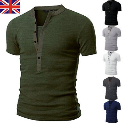 UK Men Slim Fit Henley V Neck Short Sleeve Muscle Tee T-shirt Casual Tops Blouse