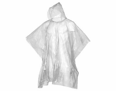 Adult Rain Poncho White Waterproof Plastic Disposable Rain Hat Hood Ladies Mens