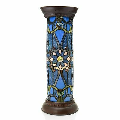 Tiffany-Style 27in Brandi Stained Glass Lighted Pedestal - Blue