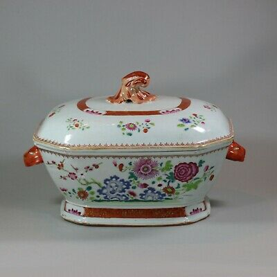 Antique Large Chinese octagonal famille rose tureen and cover, Qianlong (1736-95