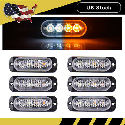 6PCS White/Amber Car 4LED Emergency Strobe Light Kit Bar Marker Flash Warning La