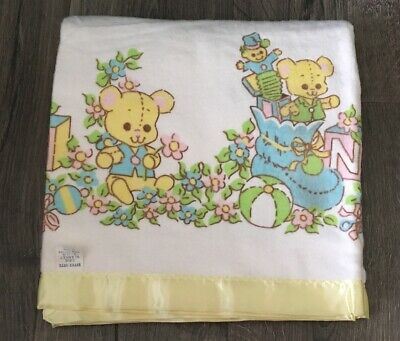 "Vintage Nitey Nite Baby Blanket Cotton Yellow Satin Trim 36"" x 50"" Pastel Bear"