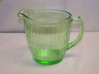Vintage Green Depression Glass 5 Inch Tall Pitcher With Handle