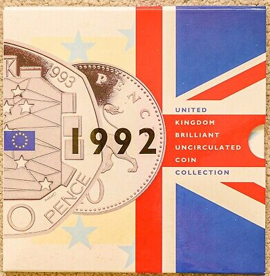 1992 UK Royal Mint Brilliant Uncirculated Coin Set Collection EEC 50p Dual Date